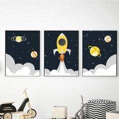Nursery Printable Wall Art by KidsWallArtPrintable Outer Space Nursery, Space Themed Nursery, Nursery Themes, Nursery Ideas, Boy Wall Art, Kids Room Wall Art, Boys Room Decor, Room Boys, Boy Decor