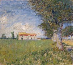 Vincent van Gogh (Dutch, Post-Impressionism, 1853-1890): Farmhouse in a Wheat Field, Spring 1888. Oil on canvas, 45 x 50 cm. Van Gogh Museum, Amsterdam.