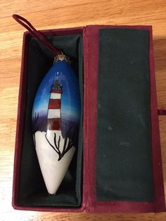 Collectable Christmas House Hand Painted Glass Xmas Lighthouse Ornament With Box
