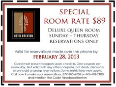 Don't miss this special offer! Hotel Specials, Queen Room, Pre Paid
