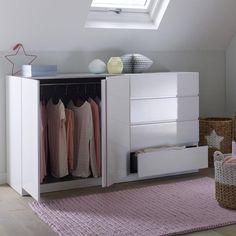 Armoire spécial soupente, 2 portes penderie, 4 tiroirs, Léo La Redoute Interieurs