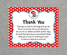 Dr. Seuss Thank You Teacher Appreciation End Of The Year Party Sign Gift Bag Sign Printable Digital Download by WendysPaperShoppe on Etsy