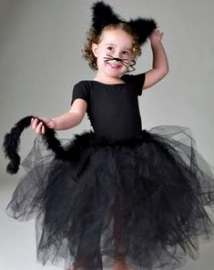 Cat tutu similar to the one I am making for Mariah's halloween costume. only with shorter tutu and cat ear headband :] Tutu Costumes Girls, Up Costumes, Carnival Costumes, Children Costumes, Costume Ideas, Diy Halloween, Halloween Costumes For Kids, Kids Black Cat Costume, Toddler Cat Costume