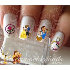 Beauty and The Beast Nail Art Belle Rose Flower Tea Set Water Decals Wraps water decals on a clear water transfer which can be applied over any color varnish on
