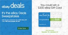 I entered eBay Deals Thanks You sweeps 4 chance 2 win $200 eBay Gift Card! 200 prizes will be awarded. #eBayDealsThanksYou