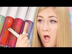 Women Try Holographic Lip Glosses - YouTube