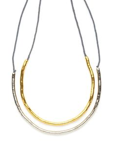 Set Of 2 Two-Tone Grey Snake Necklaces by Shashi on Gilt.com