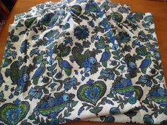 """Vintage Mid Century Bark Cloth Fabric Kitchen Curtains/Drapes Pleated Panels 42"""" (2)~Blue/Green PA Dutch/Folk Art by PleasantDaysVintage on Etsy"""