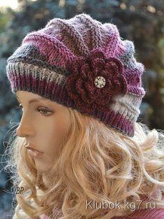 Knitted cap in flower cap / hat lovely warm autumn accessories women clothing Knit Hat Womens Strickmütze in Blumenkappe / … Chat Crochet, Free Crochet, Knitting Patterns, Crochet Patterns, Easy Knitting, Knitting Needles, Knitted Hats, Crochet Hats, Crochet Flower