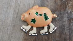 Christmas Pig Brooch With Ice Skates by SycamoreVintage on Etsy, $19.00