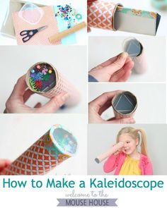 to Make a Kaleidoscope I always thought kaleidoscopes were magic. now, I can make magic!I always thought kaleidoscopes were magic. now, I can make magic! Kids Crafts, Craft Activities For Kids, Summer Crafts, Toddler Crafts, Preschool Crafts, Craft Projects, Arts And Crafts, Party Activities, Science Projects For Kids