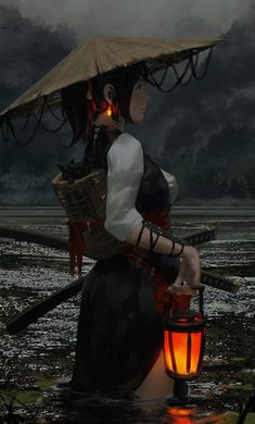 Cat Basket - fantasy concept by Z. Character Inspiration, Character Art, Fantasy Kunst, Anime Art Fantasy, Fantasy Artwork, Samurai Art, Female Samurai, Female Ninja, Fantasy Characters