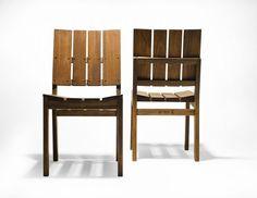 Cadeira Timbó. Sem braços, a peça é feita de madeira certificada