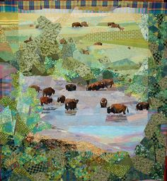 """Bison at Mission Creek, 80 x 77"""", by Ruth B. McDowell"""