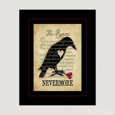 Nevermore The Raven 8x10 digital print by Parachute425 on Etsy, $14.00