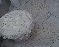 Jogo de Tapete para Banheiro - 3 peças por Ponto Com Artesanatos