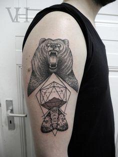 #bear #moth #geometric #symbolism #shoulder #tattoo by valentin hirsch