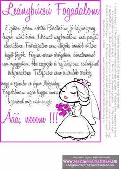 Leánybúcsú FOGADALOM cuki menyasszony INGYEN letölthető, nyomtatható