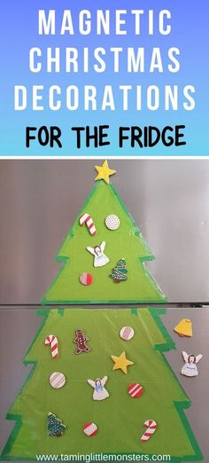 Learn how to make magnetic salt dough Christmas decorations for the fridge door. Toddlers and preschoolers can use these Christmas crafts to decorate this tree as often as they like while leaving the real tree alone. #christmas #artsandcrafts #toddler #preschool Christmas Tree Outline, Christmas Tree Printable, Christmas Makes, Kids Christmas, Christmas Door, Christmas Stuff, Salt Dough Christmas Decorations, Toddler Preschool, Toddler Fun
