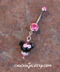 Pink Belly Button Ring Minnie Mouse Style Disney by chuckhljal, $25.00