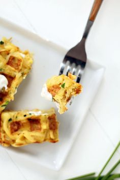 Savory Parsnip Noodle Chive Waffles (Parsnaffles)...or as I call them, a new take on latkes