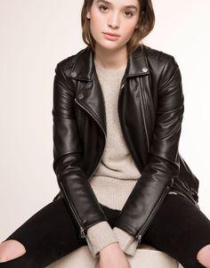 Pull&Bear - femme - blousons et vestes - blouson motard simili cuir - noir - 05712306-V2016