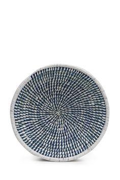 <ul> <li> Blue and white hand-woven straw bowl</li> </ul>