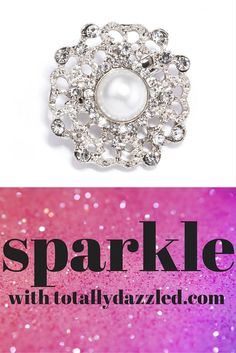 Pearl and rhinestone brooch, only $1.75! Also available in gold and as a napkin ring! Visit totallydazzled.com to see our wide selection of rhinestone products to add some bling to your special day! We'll dazzle you! #wedding #bling #dazzle