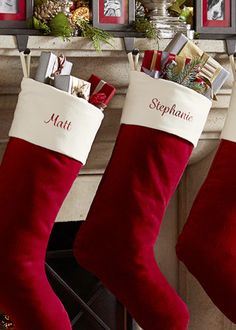 Crafted of luxurious velvet and accented with crisp, high-quality monogramming, our stocking will become a holiday keepsake.