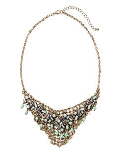 Piperlime | Gold and Mint Mesh Chain Statement Necklace