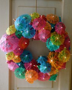 """A pretty Spring/Summer """"indoor"""" wreath- also a fun lesson in geometry"""