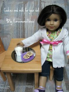 Karen Mom of Three's Craft Blog: Make your doll a glass of milk to enjoy with her cookies!