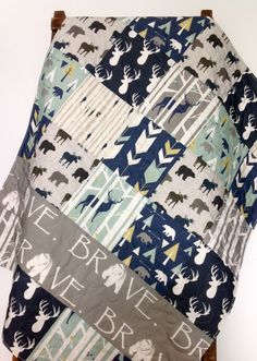 Baby Quilt Boy Bedding Woodland Blanket Buck Baby by CoolSpool