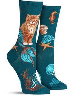 Purrmaid socks with cat-mermaids