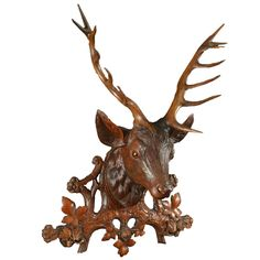 Black Forest Stag Plaque with Oak Sprays