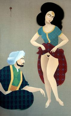 Persian Couple 1 - Oil on Linen - Hayv Kahraman.  I would have titled this 'face to face with you maker/master'.
