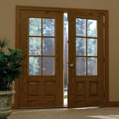 Milliken Millwork 36 in. x 80 in. Simulated Divided Lite Clear Glass 3/4 Lite 1-Panel Finished Oak Fiberglass Prehung Front Door-Z000246R - The Home Depot
