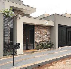 100 fachadas de casas modernas e incríveis para inspirar seu projeto House Gate Design, House Front Design, Modern House Design, Contemporary Design, Modern Exterior, Exterior Design, Garage Exterior, Facade Design, House Entrance