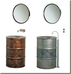 recycled oil drum sinks with mirrors! this would be neat in a garden too...