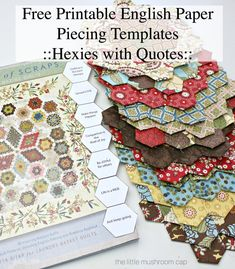 Free Printable Hexagon English Paper Piecing Template - The Little Mushroom Cap Hexagon Quilt Pattern, Hexagon Patchwork, Paper Pieced Quilt Patterns, Pattern Paper, Hexagon Quilting, Patchwork Tutorial, Quilting Tips, Quilting Patterns, Quilting Tutorials