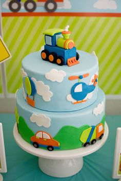 Transportation theme cake