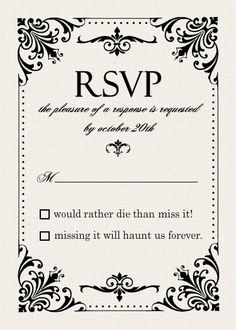 Gothic themed RSVP courtesy of WeddingPaperie.com. <3 Gothic Wedding Inspiration. #gothicwedding