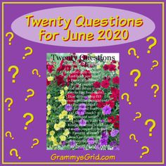 TWENTY QUESTIONS FOR JUNE 2020 – Grammy's Grid Buy Movies, Scary Movies, Twenty Questions, Rocky Road Ice Cream, Deer Meat, Extroverted Introvert, Fast Food Chains, Chex Mix, Type Of Pants