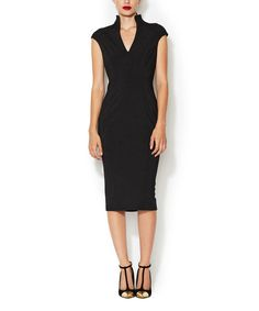 Look at this #zulilyfind! Alexia Admor Black High-Collar V-Neck Dress by Alexia Admor #zulilyfinds