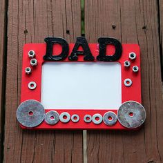 #fathersday #dad #pictureframe with metal washers, nuts, bolts, etc.