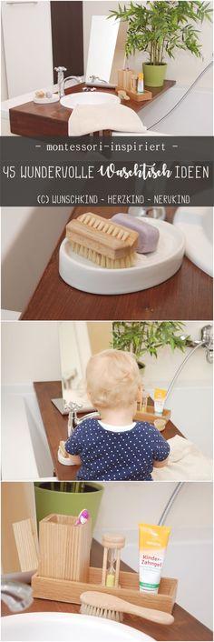 Ich zeige euch 45 wundervolle Waschtisch-Ideen, die euren Kindern helfen sich selbsttätig zu waschen und die Zähne zu putzen. So fühlen sich Kinder gesehen, wertgeschätzt und es macht ihnen sehr viel Spaß! Ikea Montessori, Montessori Toddler, Kindergarten, Kids, Home Decor, Bathroom, Modern, Bebe, Montessori Practical Life