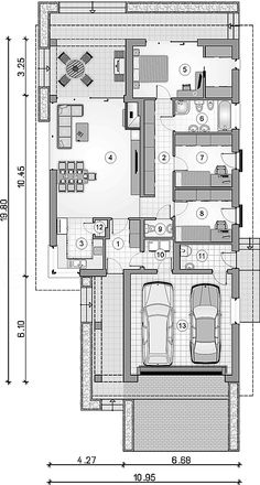 Fashion and Lifestyle Narrow Lot House Plans, House Plans One Story, Craftsman House Plans, Dream House Plans, Architectural Design House Plans, Little Houses, Planer, Living Room Designs, Sweet Home
