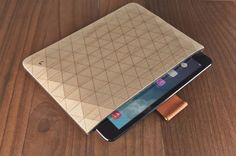 Geometric wooden iPad and Macbook sleeves from Grove