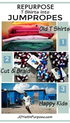 Can Repurpose T Shirts into Jump Ropes Easy DIY tutorial How to repurpose t shirts into jump ropes! Upcycle old t shirts into a fun toy! Christmas Child Shoebox Ideas, Operation Christmas Child Shoebox, Christmas Crafts For Kids, Christmas Ideas, Christmas Boxes, Easter Crafts, Christmas Presents, Christmas Eve, Xmas