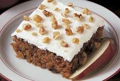 Apple Walnut Cake Recipe -This moist cake is perfect for brunch. It gets its appeal from big chunks of sweet apples, nutty flavor and creamy frosting. The recipe, originally my mom's, is a unique harvest treat. Pear Recipes, Cake Recipes, Dessert Recipes, Greek Recipes, Food Processor Uses, Food Processor Recipes, Apple Walnut Cake Recipe, Apple Cake, Cake Cookies